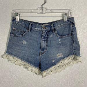 Free People Lace Denim Shorts 27